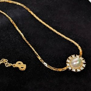 Christian Dior Pearl & Rhinestone Necklace
